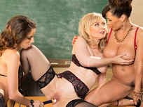 Pornstar Belle Knox learns the trade from Nina Hartley and Lisa Ann.